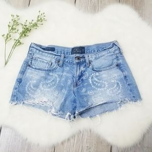 Lucky Brand The Cut Off Paisley Print Jean Shorts
